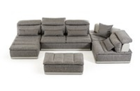 Italian Modern Adjustable Headrests Grey Fabric and Grey Leather Sectional Sofa