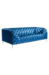 Providence Modern Plush Tufted Design Steel Feet Neon Blue Velvet Sofa