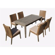 Winchester 7-Piece Antique Brown Hard Wood All-Weather Wicker Patio Dinning Set