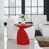 Flow Modern Fiberglass Side Table in Red