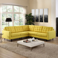 Empress 3 Piece Button Back Fabric Sectional Sofa Set in Sunny