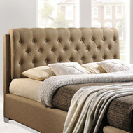 Amelia Fabric Tufted Button Headboard Queen Bed Frame in Latte