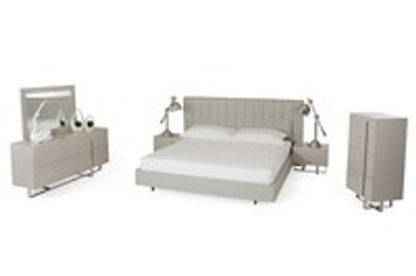 Modrest Modern Grey Queen Size Bedroom Set With Bed Nightstands Dresser and Mirror