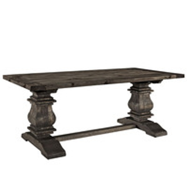 Column Rectangle Wood Top Carved Pine Legs Dining Table in Brown