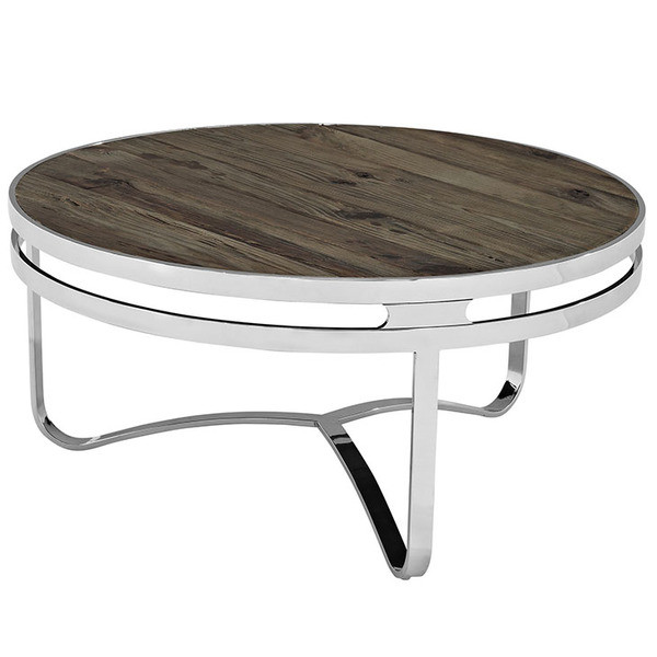 Provision Wood Top Stainless Steel Frame Coffee Table in Brown