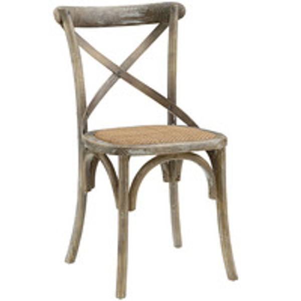 Gear Dining Side Chair Cross Back Accent Chair in Gray