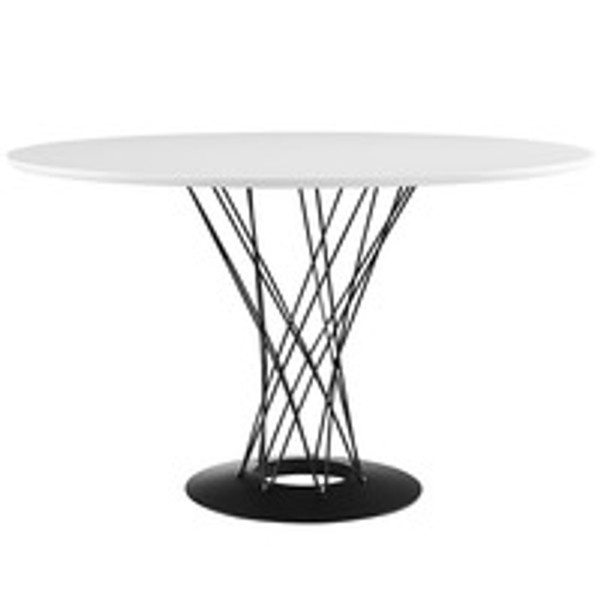Cyclone Round MDF Wood Top Steel Base Dining Table in White