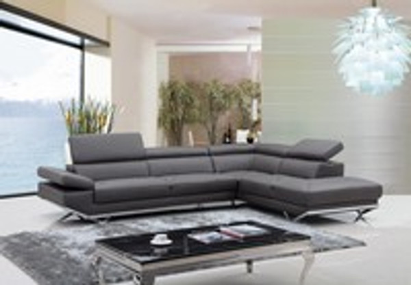 Modern Adjustable Headrests Right Facing Chaise Dark Grey Eco-Leather Sectional Sofa