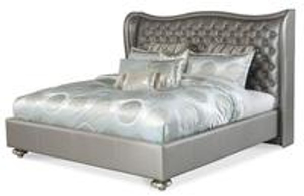 East.King Metallic Finish Bed Frame with Headboard Platform Frame Slats