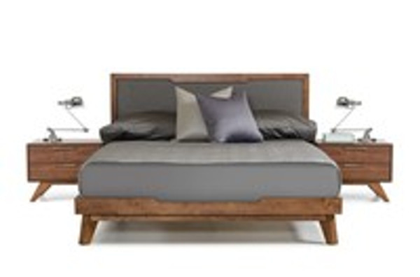 Nova Domus Soria Modern Grey & Walnut Queen Size Bed Frame