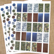 Camo Poly Weatherproof Labels for EO Bottles or Lip Balm Tubes - 45 Labels + 45 Bottle Top Rounds