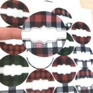 Buffalo Plaid Round Poly Weatherproof Labels for EO Bottles or Lip Balm Tubes - 54 Labels