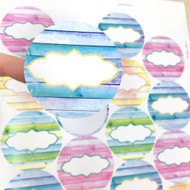 Shiplap Design Round Poly Weatherproof Labels for EO Bottles or Lip Balm Tubes - 54 Labels