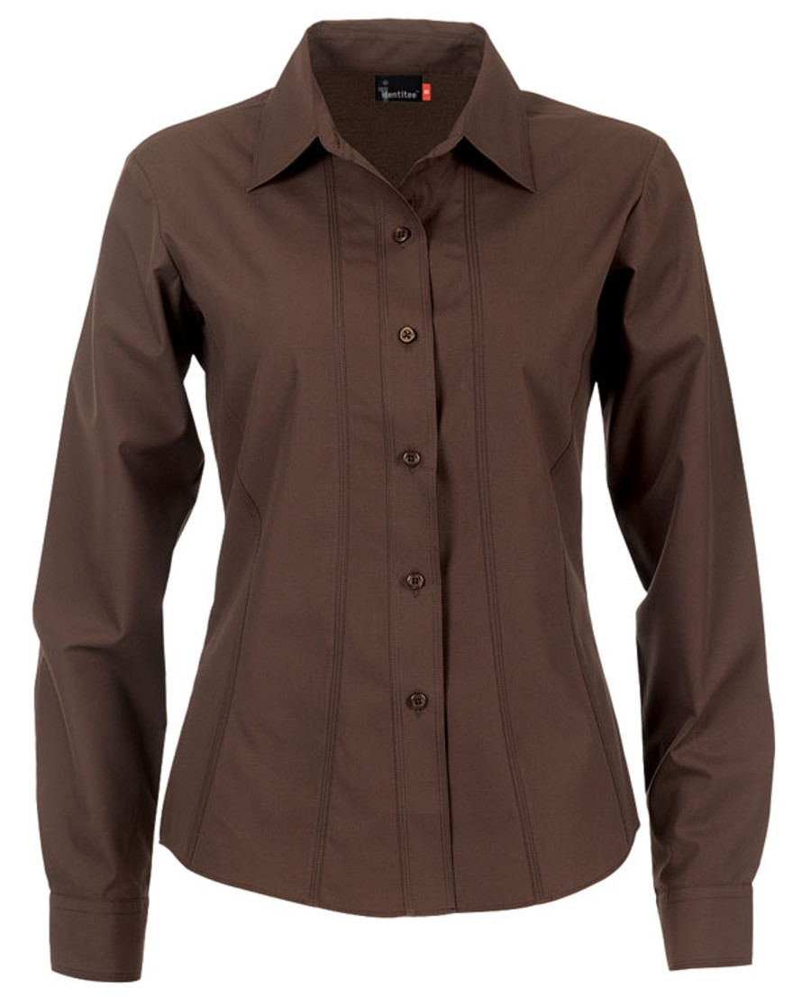 Ladies Aston L/S Sleeves Business Shirt (Chocolate)
