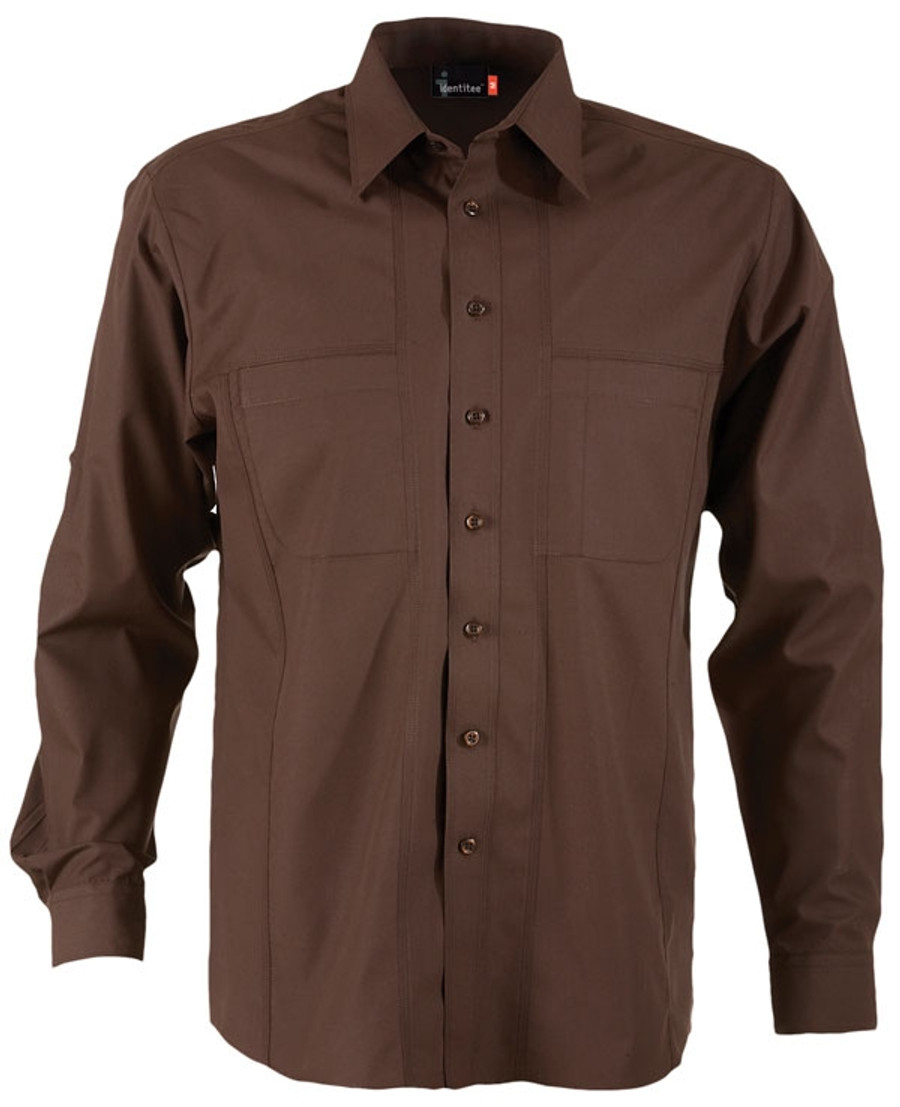 Mens L/S Aston Business Shirt (Chocolate)