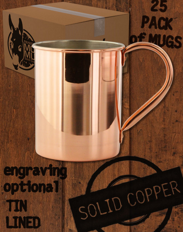 25 Pack - 24oz Tin-Lined Solid Copper Moscow Mule Mugs