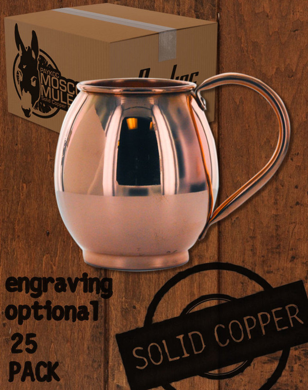 25 Pack - 16oz Solid Copper Moscow Mule Barrel Mugs