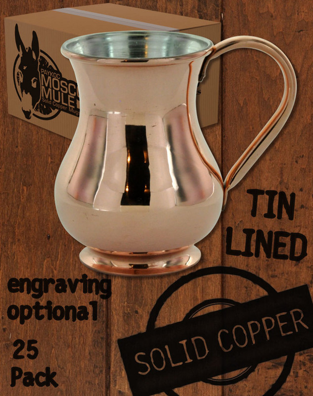 25 Pack - 13.5 oz Solid Copper Tin Lined Moscow Mule Kettle Mug