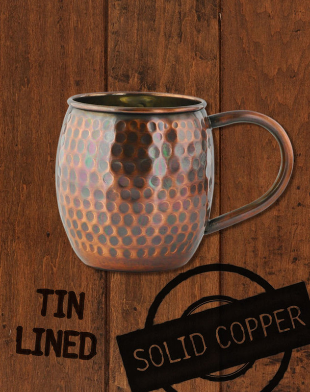 18oz Hammered Antique Finish Barrel Copper Moscow Mule Mug