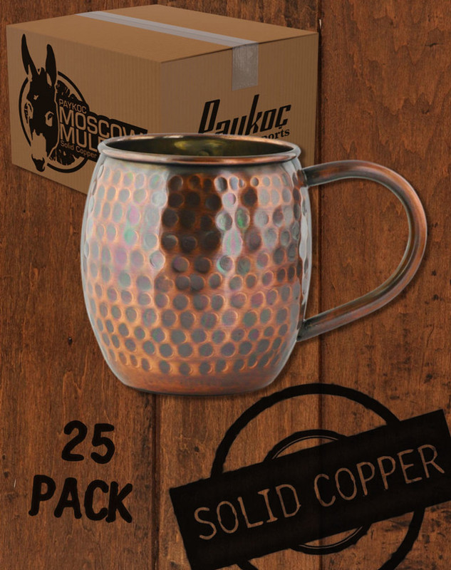 25 Pack - 18oz Hammered Antique Finish Barrel Copper Moscow Mule Mugs