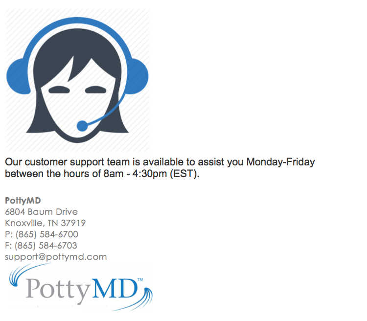 PottyMD customer support