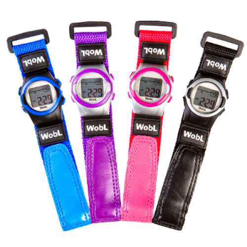 Wobl vibrating reminder watch in blue, purple, pink and black.