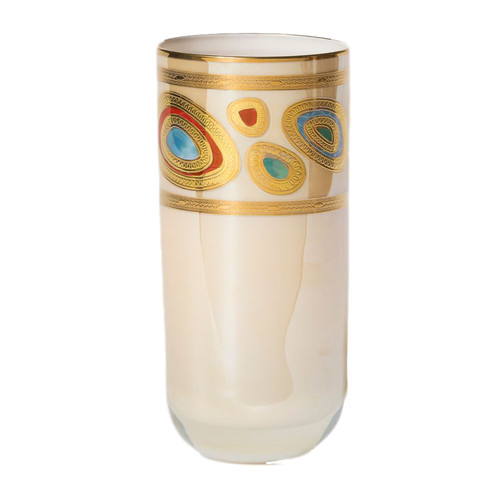 """The ornate emblems and decorations of royalty inspired this unique collection, handpainted in 14-karat gold, and the Regalia Cream High Ball will elevate any cocktail. 6""""H, 12 oz RGI-7613C"""