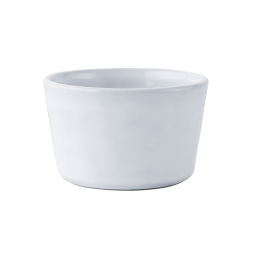 """№ KQ12/17 From our Quotidien Collection - An after dinner chocolate pot de creme or an individually baked mac and cheese for the kids is irresistible in our cheerful white ramekin. Our stoneware's non-porous surface coupled with our extremely durable glaze provides a quick and easy clean up.   Measurements: 4"""" W x 2.5"""" W Capacity: 9 ounces Made of Ceramic Stoneware Oven, Microwave, Dishwasher, and Freezer Safe Made in Portugal"""
