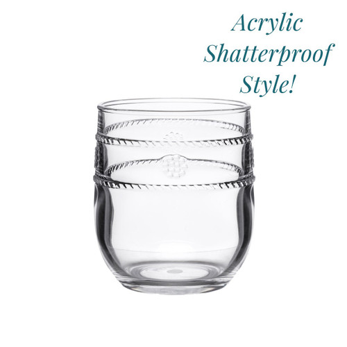 """№ MA302/01 From our Al Fresco Collection- The unique shape of our acrylic drinkware allows for versatility across all beverages, making our tumbler ideal for everything from a double old fashioned to ice water. In our iconic bohemian Isabella motif, our acrylic was designed with the adventurous entertainer in mind.  Measurements: 3.5"""" W x 4"""" H Capacity: 8 ounces Made of Acrylic, BPA free Dishwasher safe, top shelf recommended Imported"""