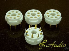 4 Pieces Gold Plated 8 Pin PCB Mounted Tube Socket EL34