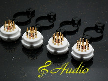 4 Piece Professional Gold Plated 9 Pin Tube Socket for 12AX7 5687 6AQ5 6DJ8 EF86