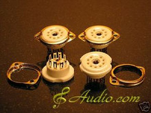 4 Piece Gold Plated 9 Pin Panel Mounted Tube Socket 12AX7