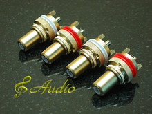 4 PCS GOLD PLATE RCA FEMALE CONNECTOR CHASSIS SOCKETS