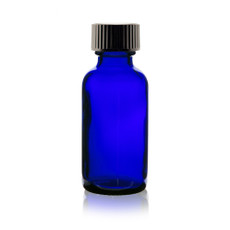 Boston Round Glass Bottle 1 oz Cobalt Blue  - w/Cone Cap