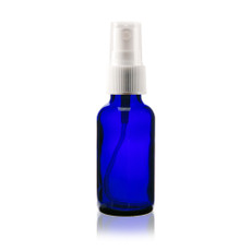 Boston Round Glass Bottle 1 oz Cobalt Blue - w/White Fine Mist Sprayer