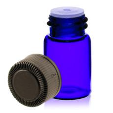 5/8 Dram Blue Glass Vial - w/Orifice Reducer & Black Cap