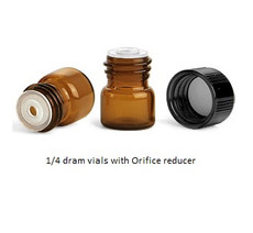 1/4 Dram Amber Glass Vial - w/Orifice Reducer & Black Cap