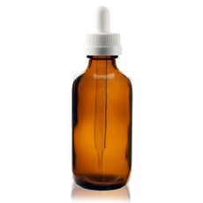 2 oz Amber Boston Round Glass Bottle w/ White Child Resistant Dropper