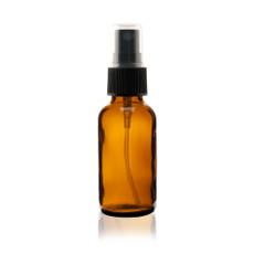 Boston Round Glass Bottle 1 oz Amber - w/ Black Fine Mist Sprayer
