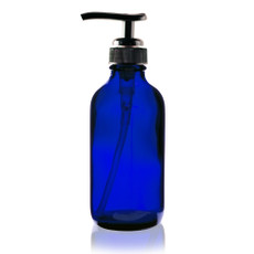 4 oz Cobalt BLUE Boston Round Glass Bottle (22-400) - w/ Black Pump