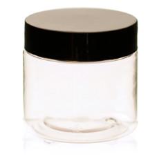2 oz Clear Plastic Jar Straight Sided w/ Plastic Lined Caps