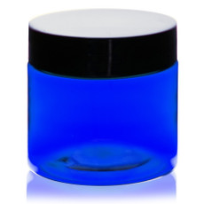 2 oz - BLUE PET Straight Sided Jars w/ Black Smooth Plastic Lined Caps