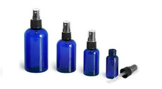 2 Oz Cobalt Blue Plastic PET Boston Round Bottle w/ Black Fine Mist Sprayer