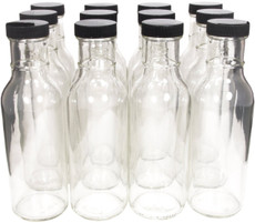 12 oz Round Sauce Bottle with Black Cap - pack of 12
