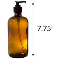 16 oz AMBER Boston Round Glass Bottle - w/ Lotion Pump