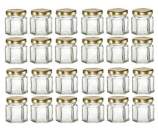 Mini Hexagon Glass Jars, 1.5oz, Pack of 24