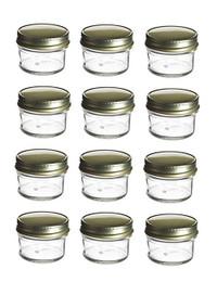 4 oz Mason Glass Jars for Jam, Honey, Pie with Gold Lid