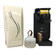 Battery-operated fan air freshener dispenser.