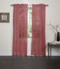 Lisa Sheer Voile Window Curtain Panel - Burgundy