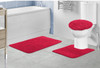 Layla Oversized 3 Piece Shaggy Bathroom Rug Set, Bath Mat, Contour Rug, Lid Cover, Solid Colors